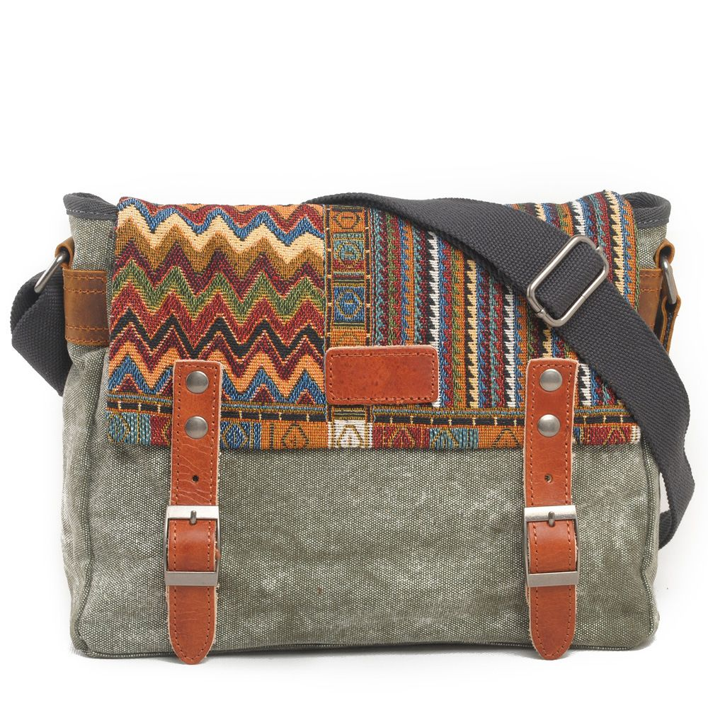 Vintage Ethnic Canvas Messenger Bag Women Chinese Style Shoulder Bag <font><b>Female</b></font> Casual National Bag Mujer Embroidery Crossbody Bag