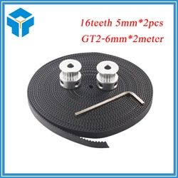 Hot 3D Printer Parts Accessory 2pcs GT2 16teeth 16 teeth Timing Alumium Pulley Bore 5mm Width 6mm With 2meters 2m 6mm GT2 Belt