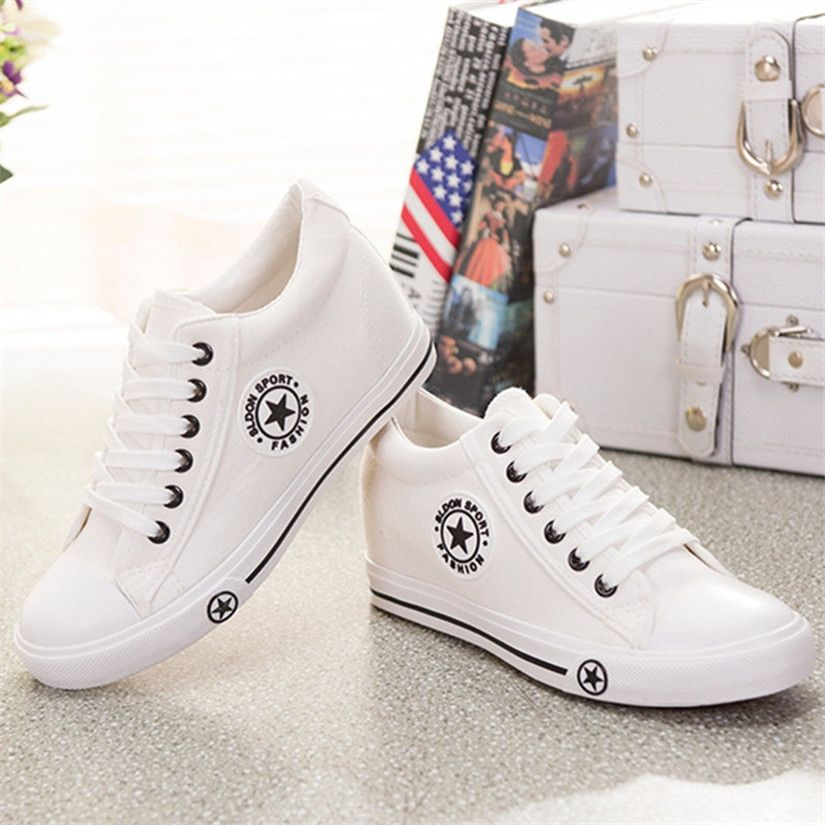 Summer Sneakers Wedges Canvas Shoes Women Casual Shoes <font><b>Female</b></font> Cute White Basket Stars Zapatos Mujer Trainers 5 cm Height tenis
