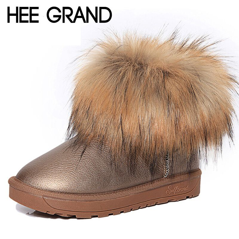HEE GRAND Brand Women's Shoes Thick Fur Fashion Snow Boots <font><b>2016</b></font> New Winter Cotton Warm Shoes For Women Ankle Boots XWX3265