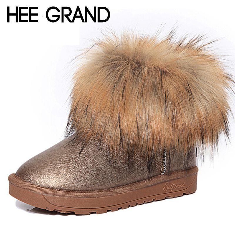HEE GRAND Marque Chaussures Épaisse Fourrure Bottes De Neige de Mode de Femmes 2016 Nouveaux Hiver Coton Chaud Chaussures Pour Femmes Cheville Bottes XWX3265