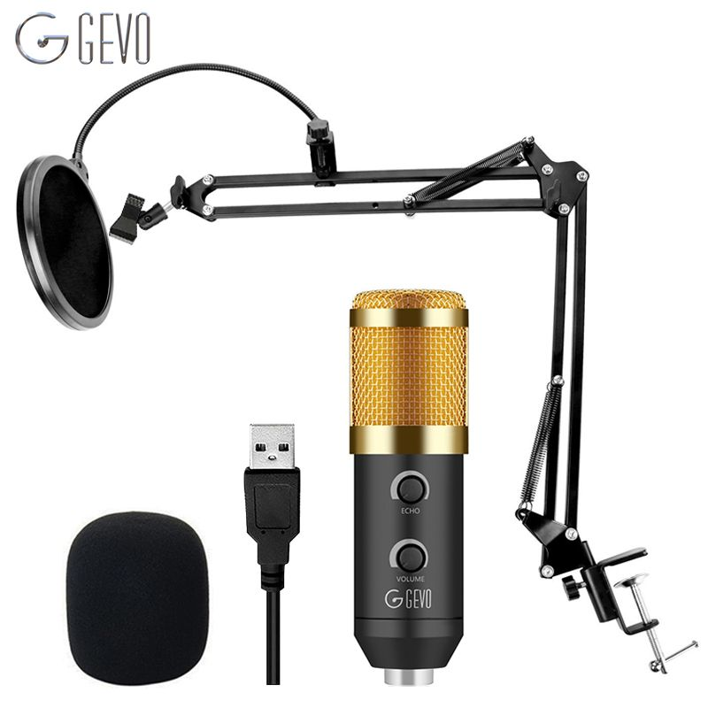 GEVO BM 900 USB Microphone For Computer Condenser Studio Karaoke Mic For PC NB-35 Suspension Arm Pop Filter Upgraded From BM 800