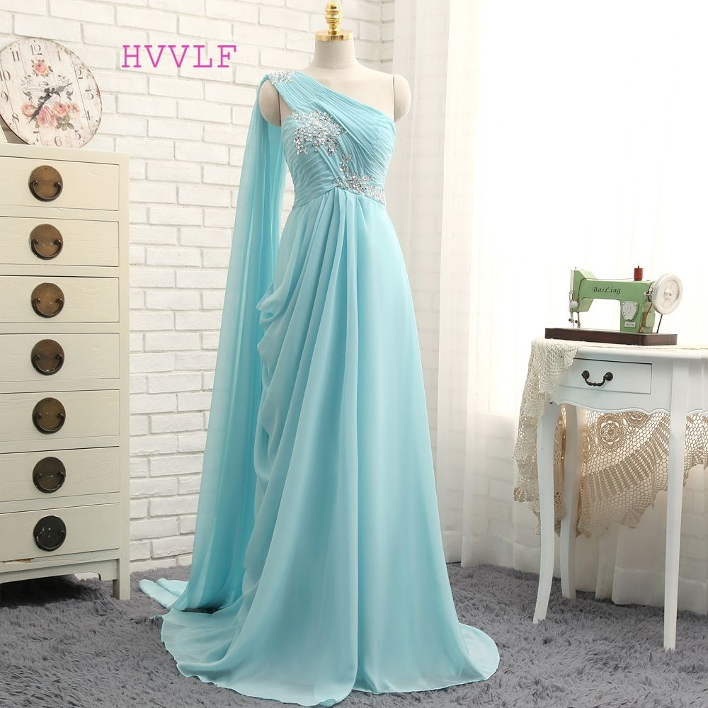 HVVLF Turquoise Evening Dresses 2018 A-line One-shoulder Chiffon Beaded Crystals Long Evening Gown Prom Dress Prom Gown