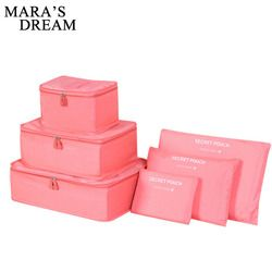 Mara's Dream 6pcs Polyester Travel Packing Cubes Portable Waterproof Breathable Men and Women Luggage Travel Bags