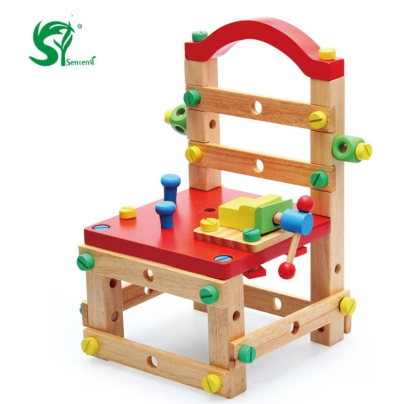 Kit de herramientas de madera juguete de los niños diy construcción nueva herramienta de tuerca de desmontaje de madera educativos toys regalo oyuncak