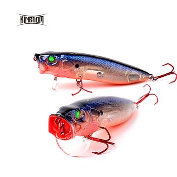 Kingdom Topwater Floating Fishing Hard Lure Popper Wobblers Switchable Tongue Plate 70mm/90mm/110mm Six Colors Model 5367