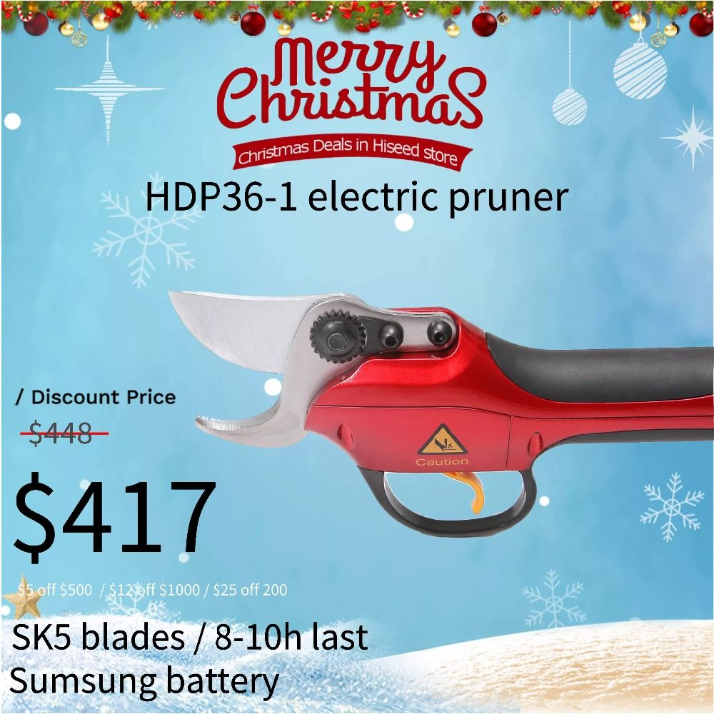 Sumsung battery pruning shears HDP36-1 Lithium battery vineyard and orchard electric scissors best pruners (CE Certificate)