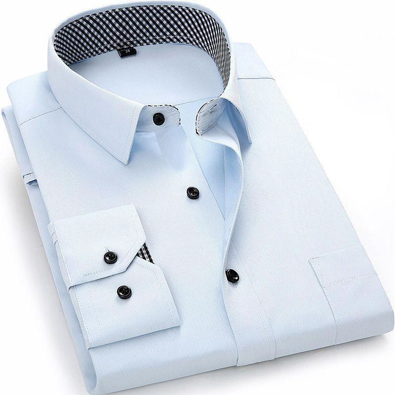 Neue Angekommene 2017 männer Langarm-shirt Beiläufige Reine farbe/Twill Arbeit Hemd Geschäfts Formalen Shirts Herrenoberhemd Großen größe