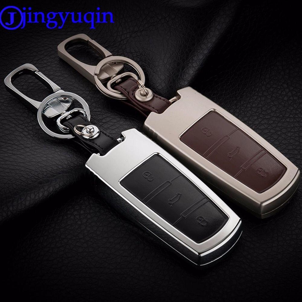 jingyuqin Remote 3 Buttons Zinc Alloy+Leather key chain Cover Case For Volkswagen Passat B6 Passat 3C Plus CC Magotan B5 B7L