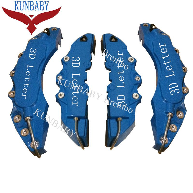 KUNBABY 4 Pcs ABS Plastic Blue Car Auto 3D Word Style Disc Brake Caliper Covers Front And Rear Size M+L