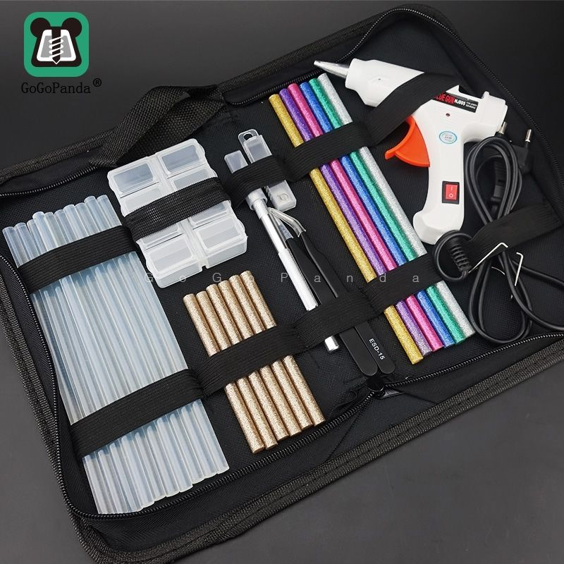 Free Shipping 6 IN 1 Glue Gun Set Electric Heat Hot Melt Crafts Repair Tool Professional DIY 110-240V 20W with Sticks Gift