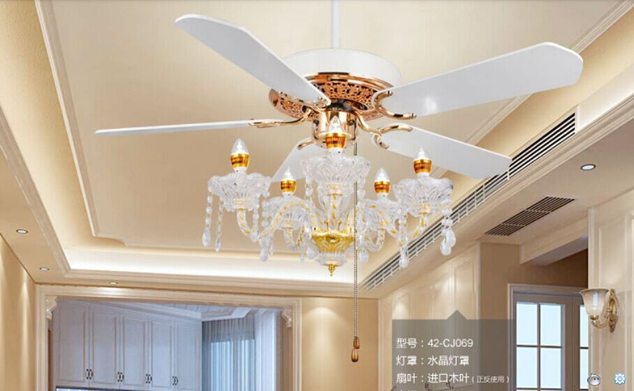 Crystal ceiling chandelier lamp fan restaurant Fan lamp crystal chandelier Fan lights continental simple American 52inch