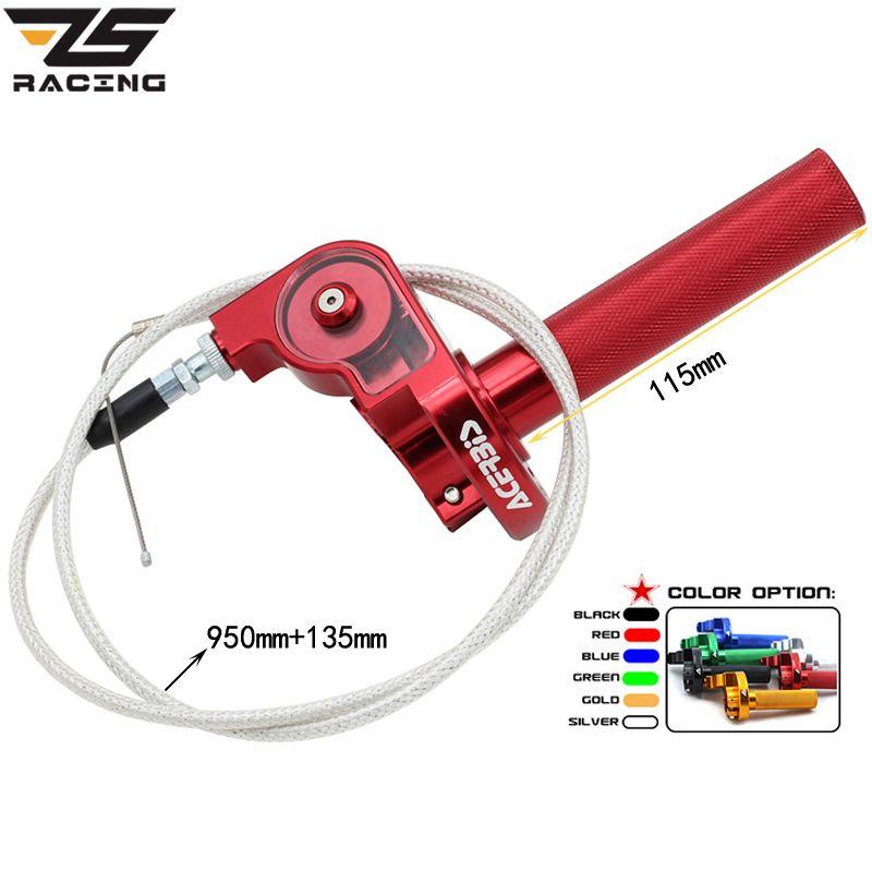 ZS Racing 22mm CNC En Aluminium Acerbs Poignée Des Gaz Rapide Twister + Câble D'accélérateur CRF50 70 110 IRBIS 125 250 dirt Bike Moto