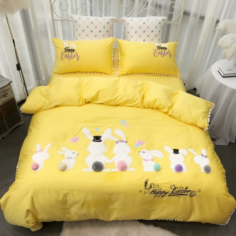 Rubbit Cute Girls Bedding set Pink Yellow Bed cover Queen King size Bed Sheet Linen set Duvet Cover ropa de cama linge de lit
