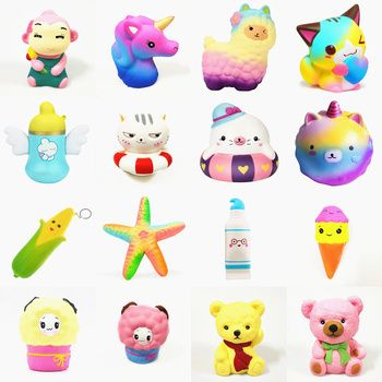 Squishy Slow Rising squeeze toy star deer glseese bear cake corn hippocampus starfish watermelon sheep toothpaste ice cream
