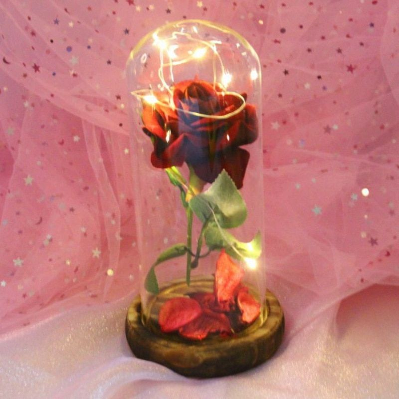 Valentines Day Gift Beauty and the Beast Red Rose Flower String Light Battery Powered Table Lamp Romantic Flower Decor
