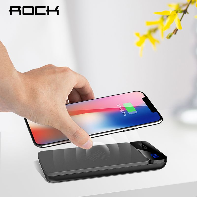 ROCK QI Wireless Charger Power Bank 5V 2A 5W External Battery with Digital Display Powerbank for iphone X 8 Samsung S8 Note 8