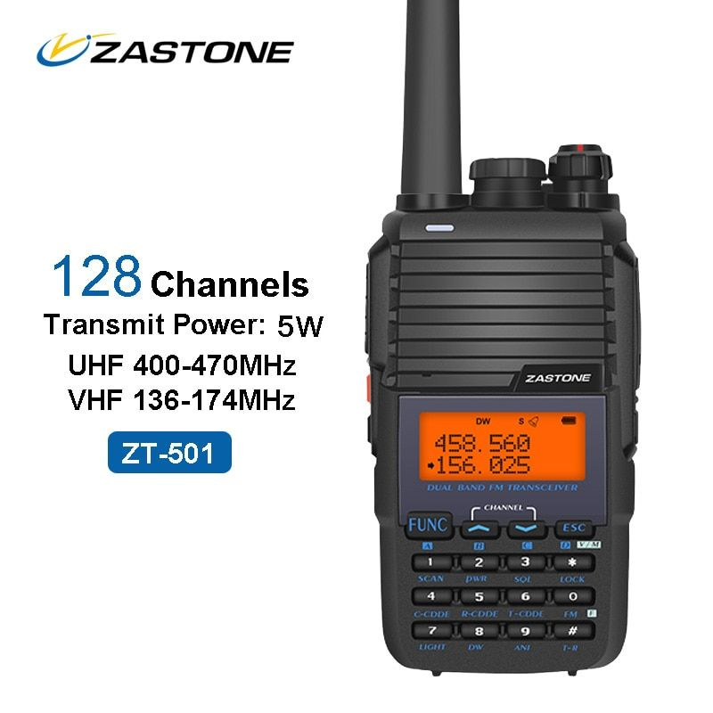 ZASTONE 501 Portable Walkie Talkie 5W UHF VHF 136-174MHz/400-470MHz 128CH 1800mAh Amateur Radio Communicator FM Transceiver