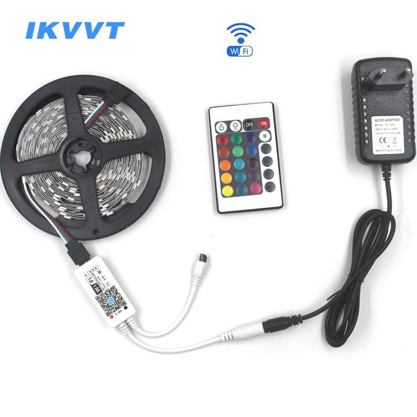IKVVT WIFI LED Strip Light RGB 5050 SMD Waterproof 12V LED Flexible Strip Ribbon Emitting Diode Tape Lamp Neon 12V Power Supply