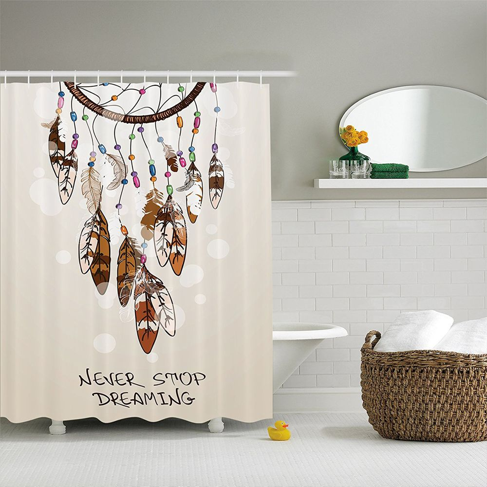 Native American Southwest Decor Shower Curtain, Never Stop Dreaming Feathers and Colorful Beads for Good Luck