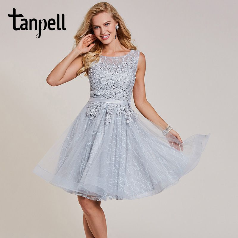 Tanpell short homecoming dress silver scoop appliques sleeveless above knee a line gown lady lace up cocktail homecoming dresses