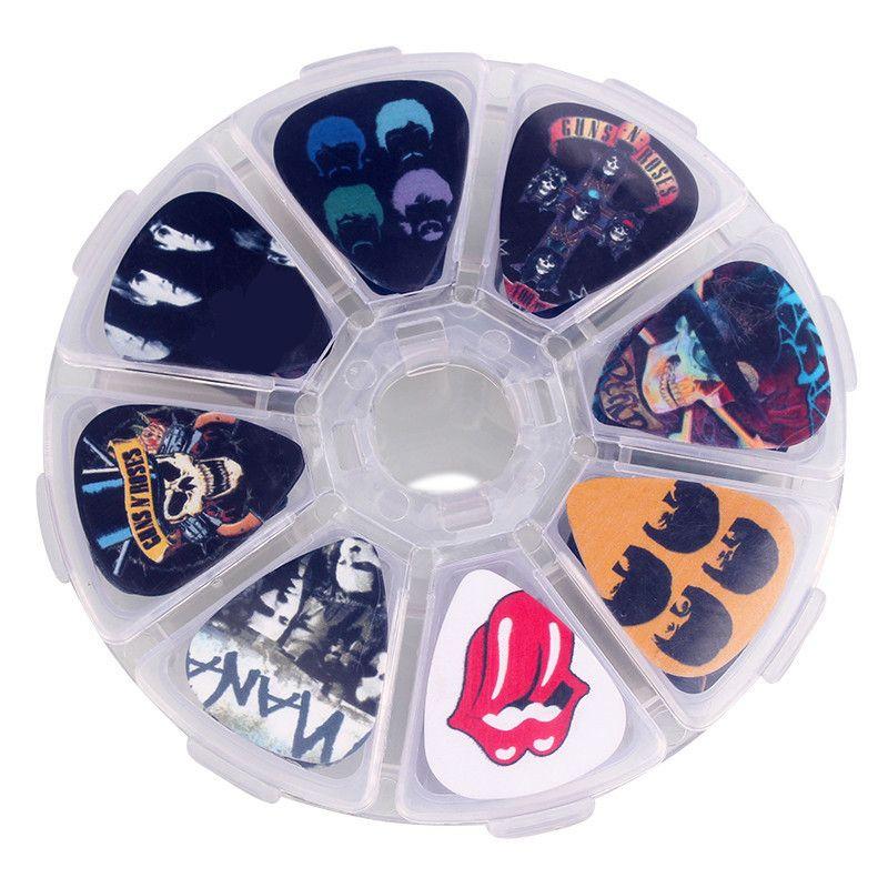 SOACH 50 pcs médiators guitare 1 boîte etui Rock Band accessoires guitare bande dessinée palette guitare Mix Plectrums + étui de maquillage clair