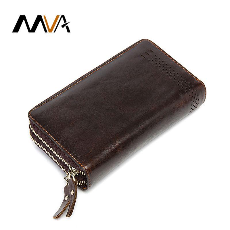 MVA Clutch Male Genuine Leather Men Wallets with Coin Purse Phone Card Holder Double Zipper Wallets Long Men Clutch Bag 9029