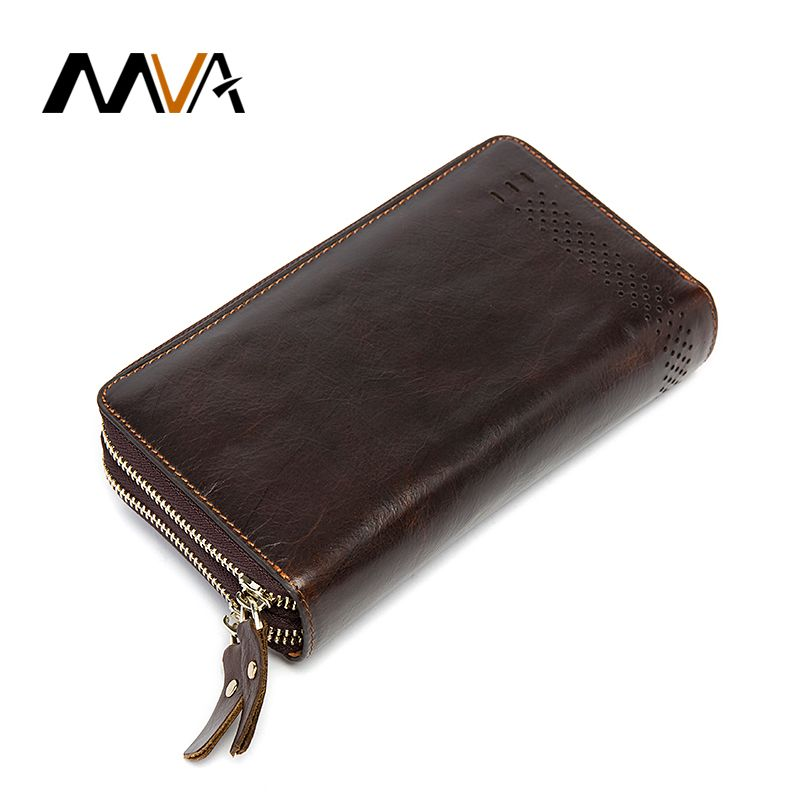 MVA Clutch Male Genuine Leather Men Wallets with Coin Purse Phone Card Holder Double Zipper Wallets Long Men Clutch Bag 9029