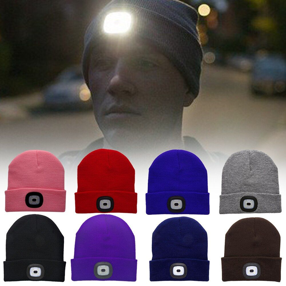 4LED Multicolor Unisex Knitted Cap Hat Light Knit Headlamp Hands Flashlight Cap For Outdoor Camping Fishing Running Wholesale
