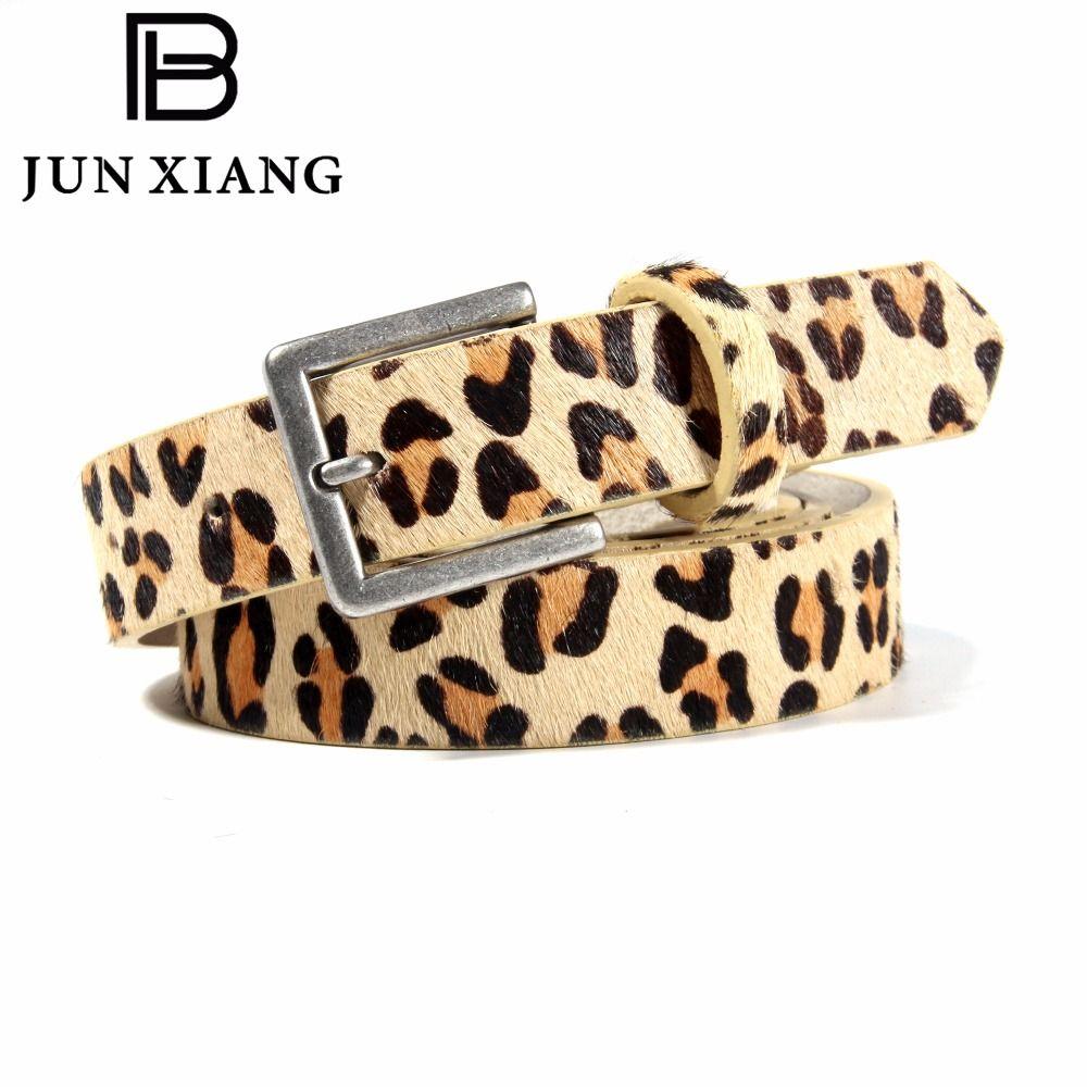 High Quality Metal Buckle Leopard Grain Horsehair 5 Hole PU Leather Belt Suitable for Girl's Pants Skirts