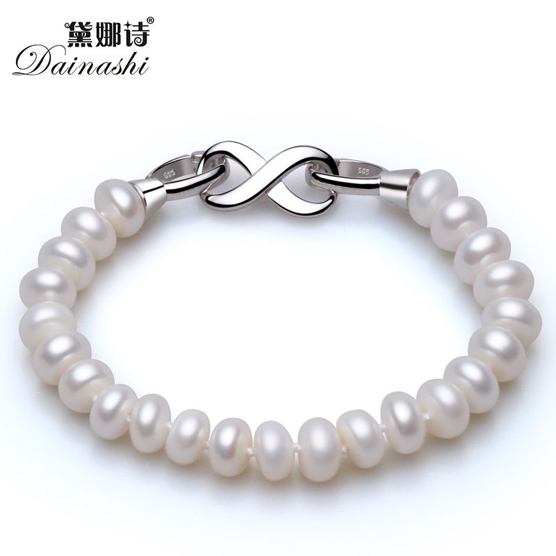 Hot Sale Oriental&Simple Shape 8 Crasp Strand Bracelet With Top Quality 8-9mm Natural Fresh Water BreadPearls For Girls Or Women