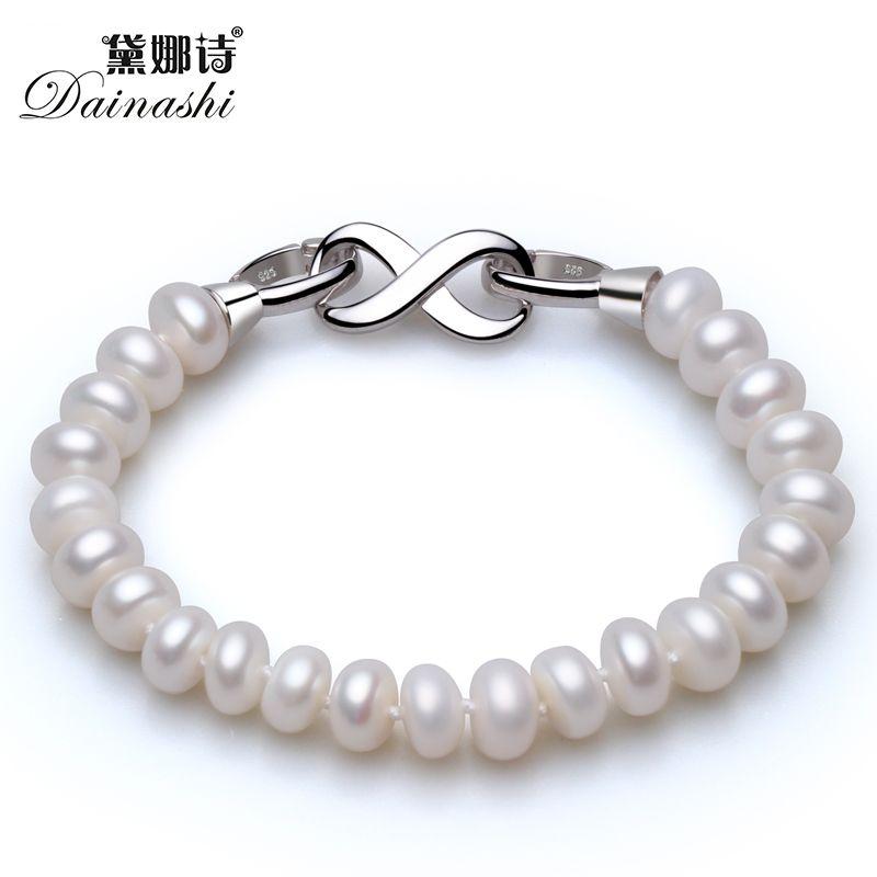 Vente chaude Oriental et Simple Forme 8 Crasp Strand Bracelet Avec Top Qualité 8-9mm Naturel D'eau Douce BreadPearls Pour Filles Ou Femmes