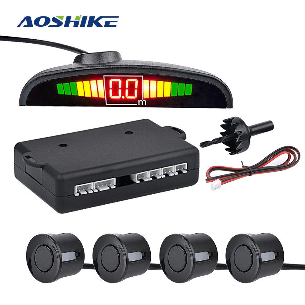 AOSHIKE Voiture Auto Parktronic LED Parking Capteur avec 4 Capteurs Inverse De Voiture De Sauvegarde Parking Radar Moniteur Détecteur Système D'affichage