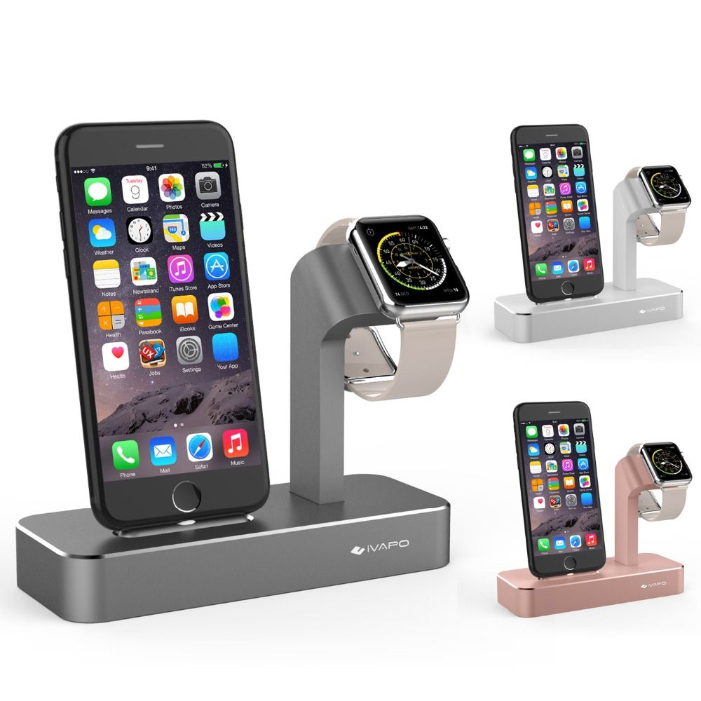 iVAPO For iPhone Charger For Apple Watch Series 3/2 For iPhone 8 Plus /7 Plus Charger Stand Solid Aluminum Charging Dock Station