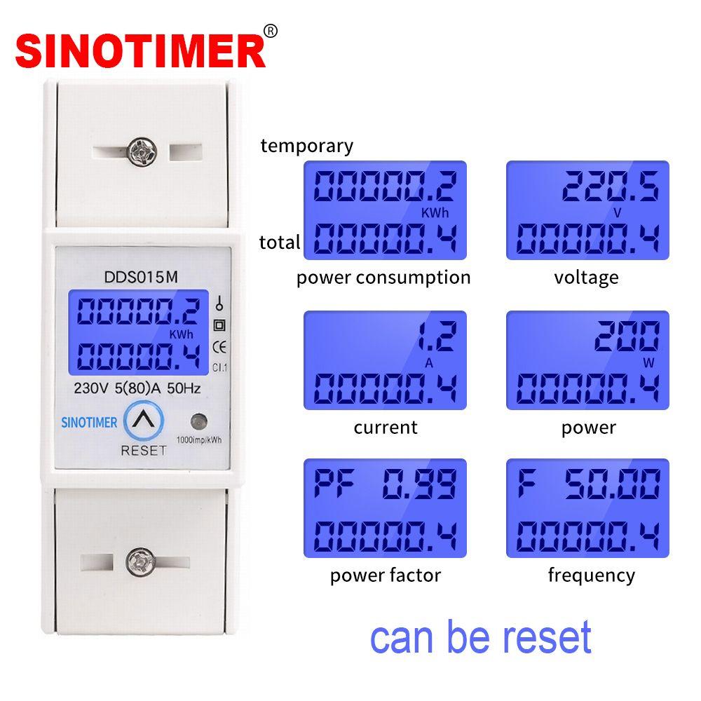 DIN Rail 5-80A 230V AC 50Hz monophasé wattmètre consommation d'énergie Watt compteur d'énergie électrique kWh avec fonction de réinitialisation