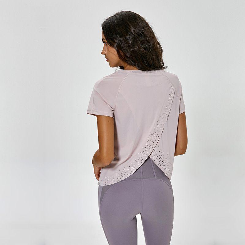 NWT femmes mignon Yoga entraînement réservoir hauts vêtements de sport Sexy dos ouvert léger à manches courtes chemises sport Gym vêtements livraison gratuite