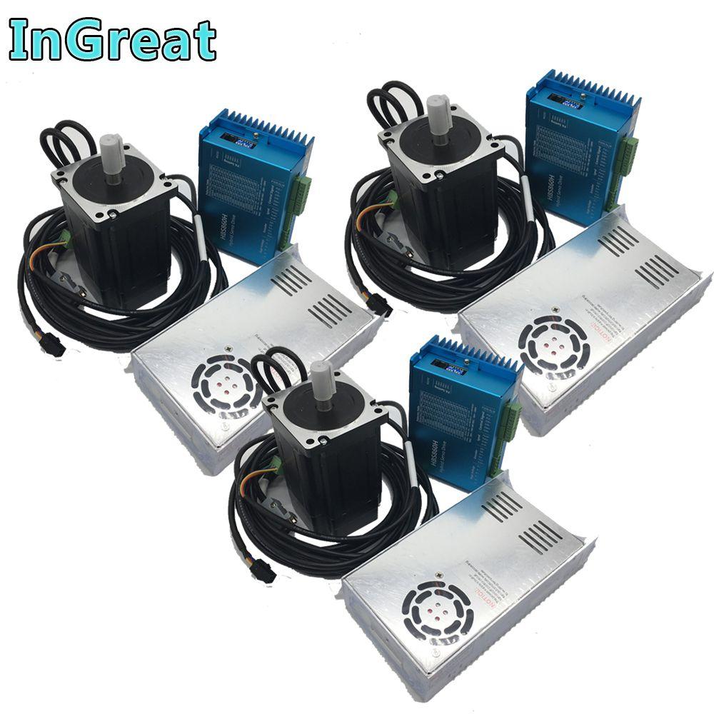 12Nm AC DC DSP Closed Loop Schrittmotor Fahrer Nema34 86 MM & 400 W 60 V DC Netzteil hybird Encoder Einfach Schritt Servo 3 Kits