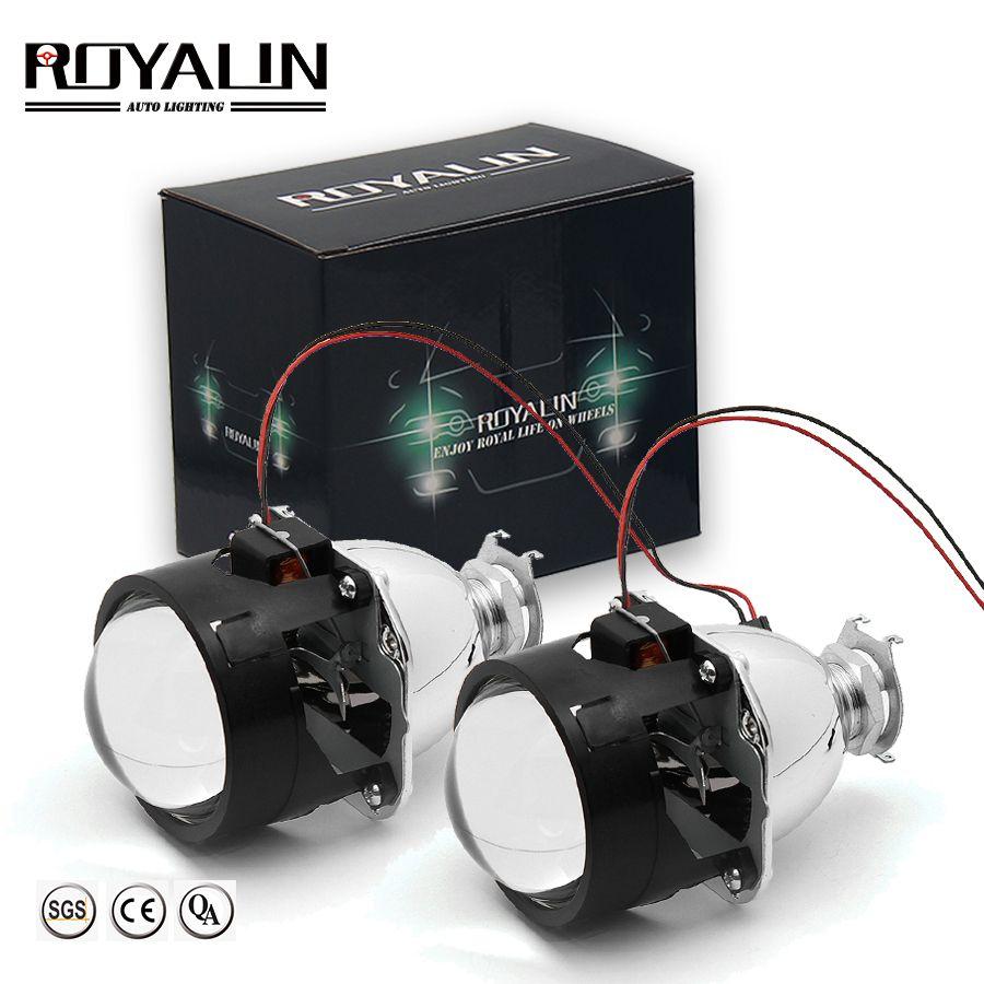 ROYALIN Bi Xenon HID H1 Mini lentille de projecteur 2.5 ''Auto phare lentille halogène salut/Lo faisceau pour H4 H7 voiture style ampoule rénovation bricolage