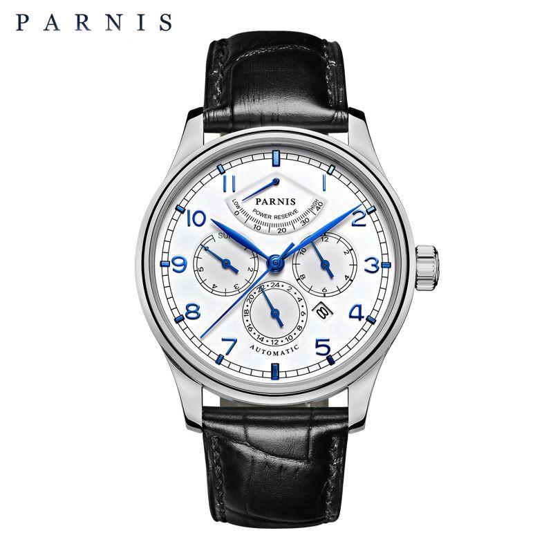 Parnis 42mm Automatische Uhr Mond Phase Power Reserve Uhr Männer Luxus Marke Top Miyota Mechanische Wickler Uhr PA6062-A Geschenk männer