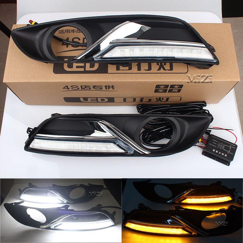 Auto DRL Tagfahrlicht Blinker stil relais LED Für Nissan Sylphy Sentra 2013-15 Mit Auto Nebelscheinwerfer Loch Fahrleuchte