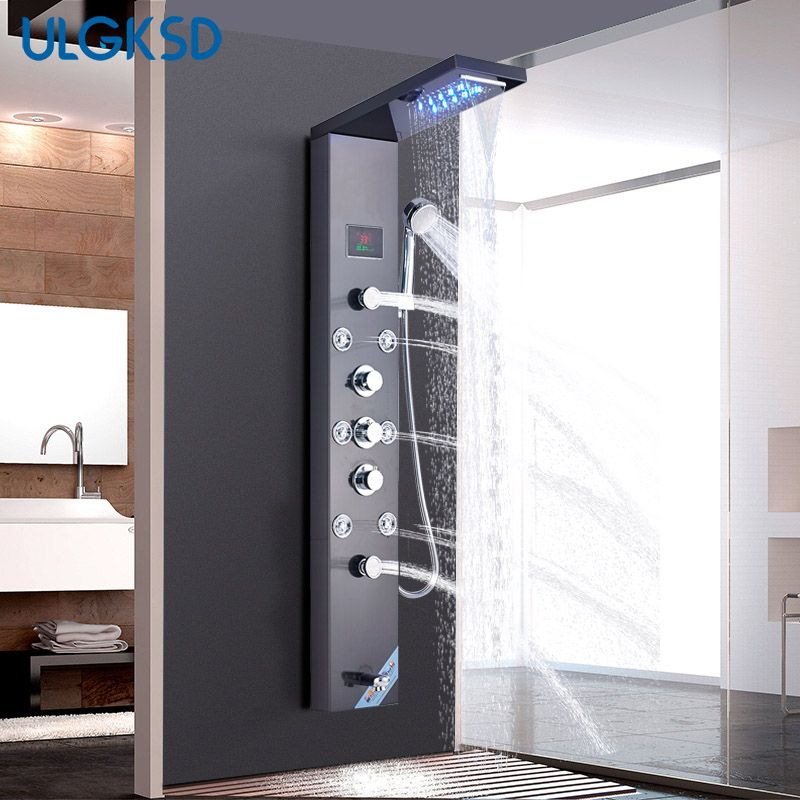 ULGKSD Temperature Screen LED Rain Waterfall Shower Faucet Set 6 Multi-functional Nozzles Massage SPA Jet Shower Panel Column