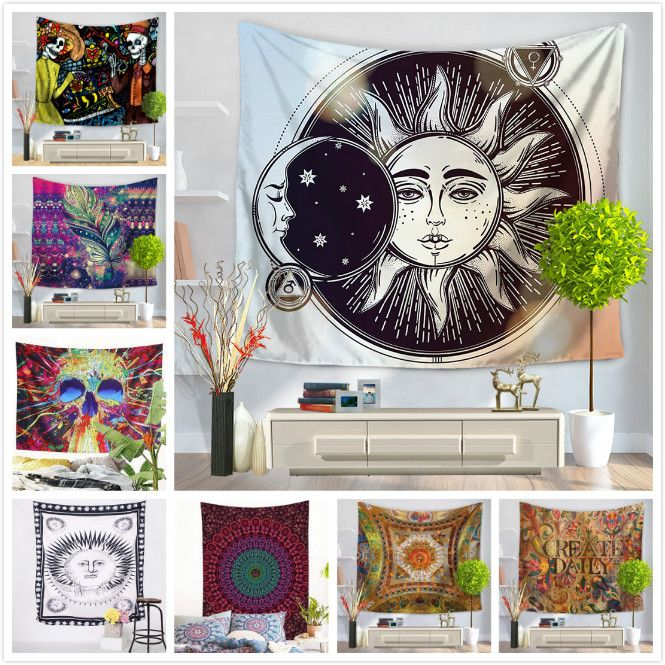 Skull Tapestry Hippie Exotic Printed Tapestry Polyester Mandala Wall Hanging Gobelin Home Decor 130x150 150x200cm