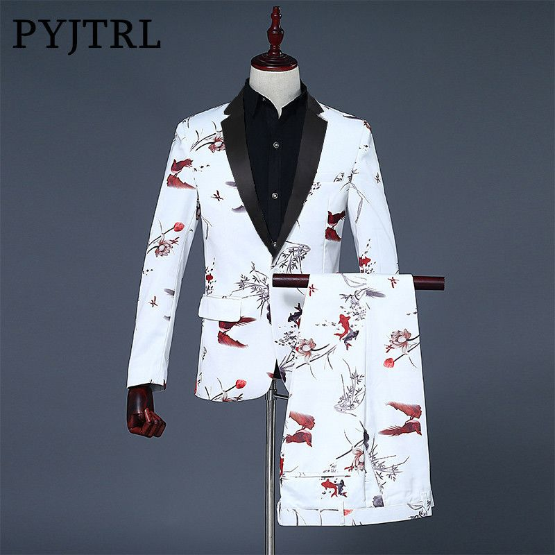 PYJTRL 2018 Tide Men White Fashion Chinese Style Double Fish Print Mens Wedding Suits Groom Suit Blazer Pants Homme Stage Wear