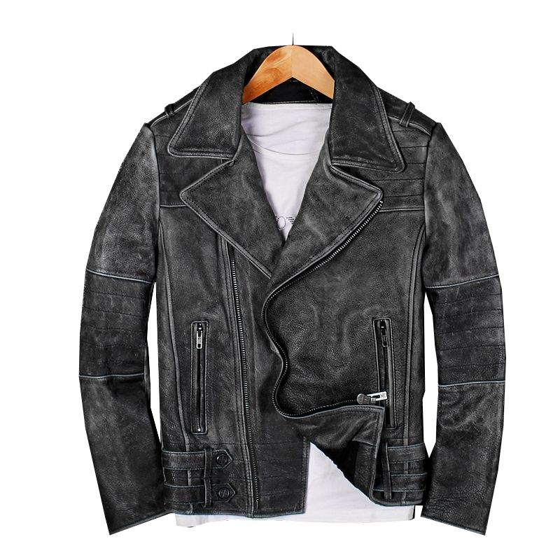 2018 Vintage Men Biker leather jacket Black Plus Size XXXL Genuine Cowhide Winter Slim Fit Motorcyclist Jacket FREE SHIPPING