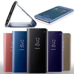 LEWEI claro ver Smart Mirror caso para Samsung Galaxy S8 S9 más S7 borde cubierta del lujo del soporte del tirón para la nota 8 teléfono caso