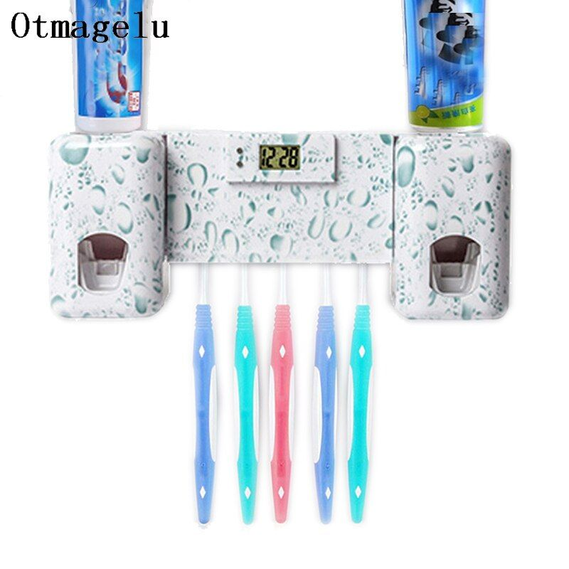 Bathroom accessories Set Clock Automatic Toothpaste Dispenser Toothbrush Holder with Combination Kit Toothpaste Squeezer for Kid