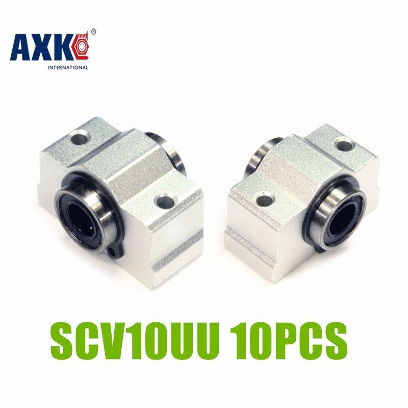 AXK 10pcs Free shipping SC10VUU SC10V SCV10UU SCV10 linear bearing block DIY linear slide bearing units CNC router SCV10UU