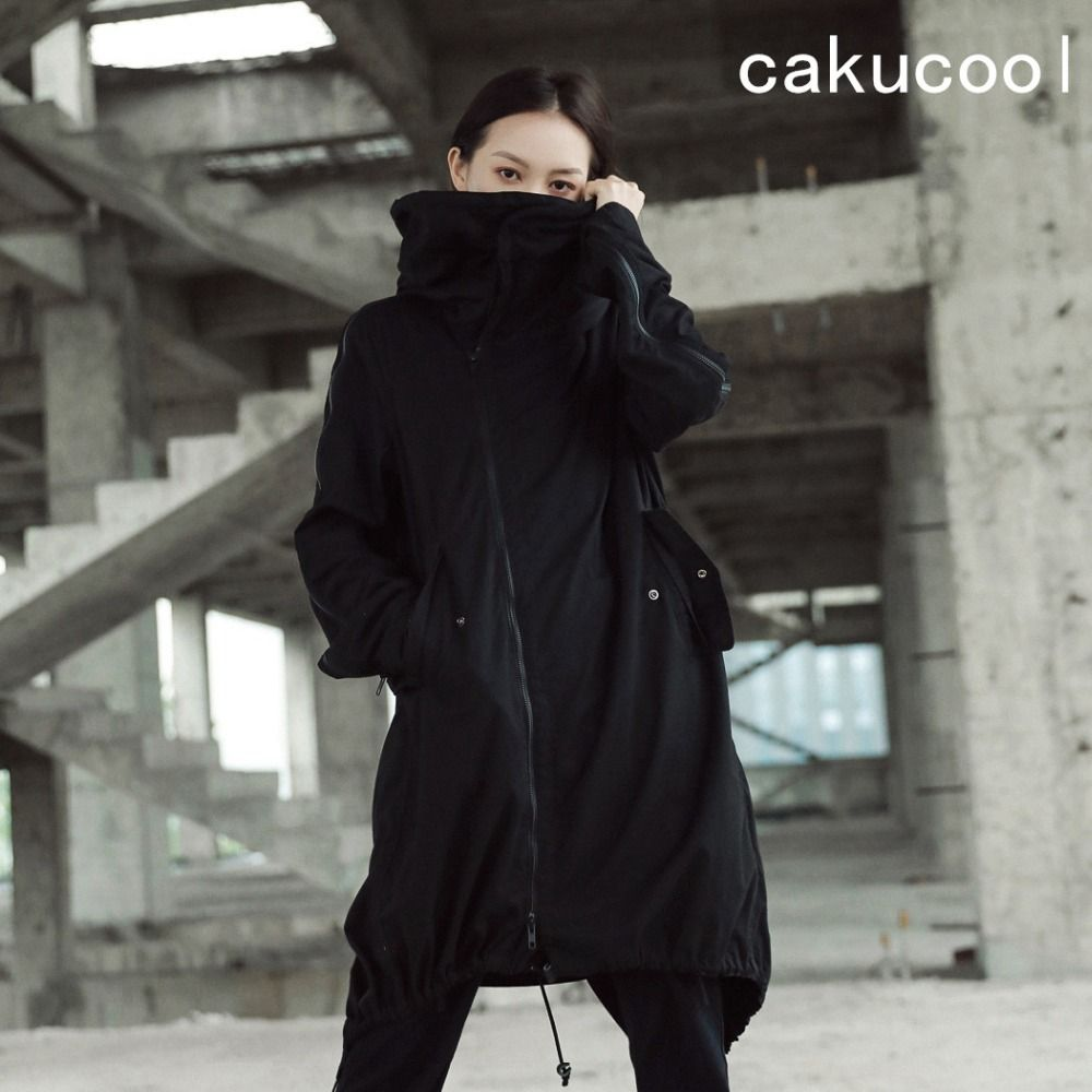 Cakucool New Women Black Long Trench Coat Zip Up Turtleneck Iron Wire Hooded Dovetail Windbreaker Loose Straight Outerwear Lady