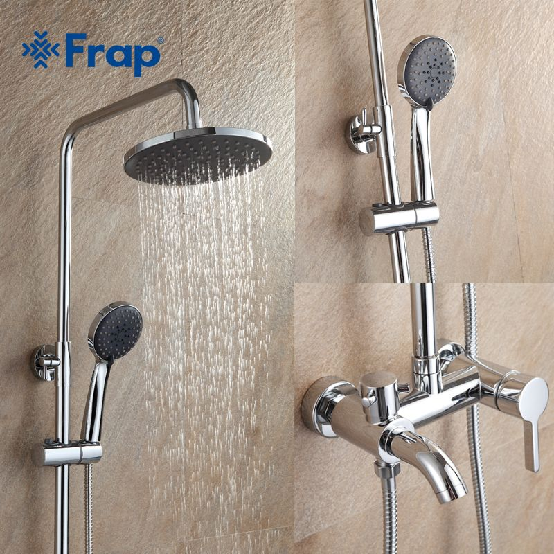 Frap 1 set Bathroom Rainfall Shower Faucet Set Mixer Tap With Hand Sprayer <font><b>Wall</b></font> Mounted chrome F2416