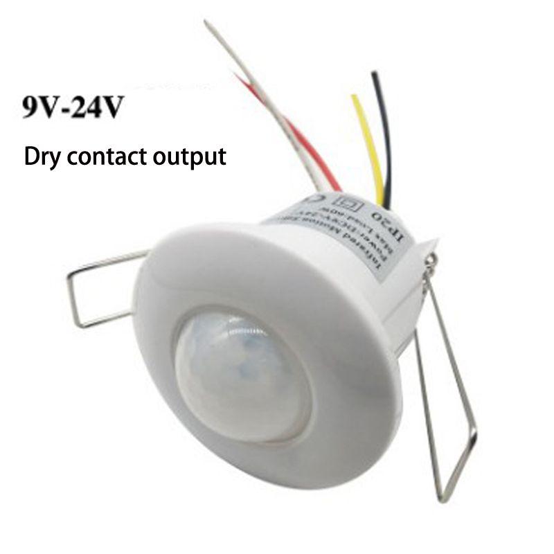 Offre spéciale électrique UnitDC 9 V-24 V 360 degrés Mini encastré PIR plafond occupation détecteur de mouvement détecteur interrupteur sec contact sortie